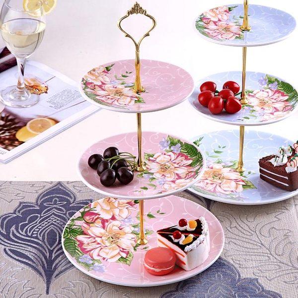 點心盤陶瓷三層水果盤子藍客廳創意蛋糕架玻璃干果盤下午茶點心托盤    萌萌小寵