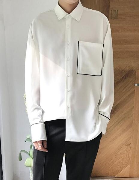 找到自己 MD 時尚 男 韓國 寬鬆 撞色 休閒百搭舒適 學生襯衣 長袖襯衫 特色襯衫