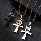 《 QBOX 》FASHION 飾品【CPN-1370】精緻個性歐美安卡十字架鋯石鈦鋼墬子項鍊/掛飾