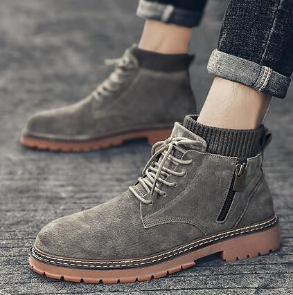 雪地靴 男鞋冬季加絨保暖棉鞋馬丁靴男高幫雪地靴工裝靴中幫短靴皮靴潮鞋【快速出貨八折下殺】