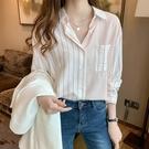 拼色豎條紋襯衫女長袖2021年春季新款韓版寬松休閑襯衣設計感小眾