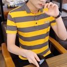 短袖t恤男翻領夏季男裝潮流韓版襯衫領polo衫半袖純棉條紋上衣男「時尚彩紅屋」