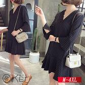 寬鬆條紋V領連衣裙 M-4XL O-Ker歐珂兒 156218-C