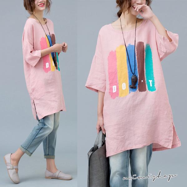孕婦裝 MIMI別走【P51824】粉嫩的夏天 透氣棉麻印花上衣 寬版長上衣