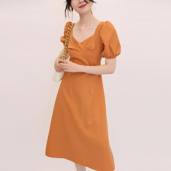 TANSSHOP2020新品洋裝女 紐結方領泡泡袖中長裙輕禮服裙D744 陽光好物