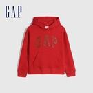 Gap男童 Logo碳素軟磨刷毛連帽休閒上衣 657907-赤霞紅