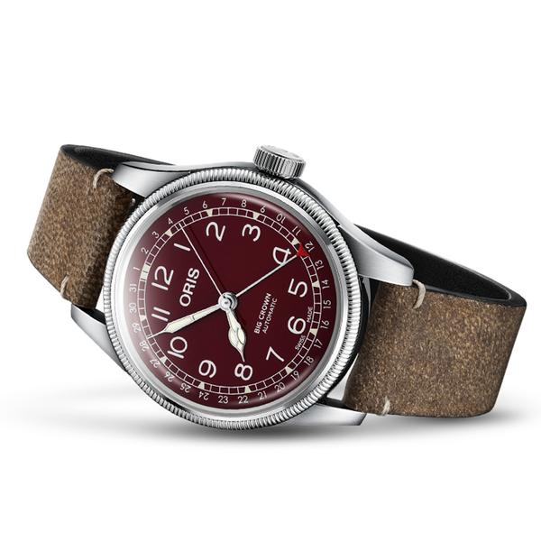 Oris豪利時BIG CROWN摩登飛行手錶 0175477414068-0752050 酒紅