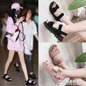 涼鞋女學生新款夏季女鞋子韓版原宿風平底百搭厚底鬆糕女鞋潮 時尚芭莎鞋櫃