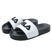 FILA (偏小建議大半號) 黑底 白面 黑紅電繡LOGO 拖鞋 男女 (布魯克林) 4S313T100