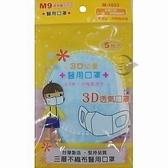 M-1033醫 用3D兒童口罩5入/包 粉紅色 粉藍色 M9 【金玉堂文具】