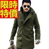 男款外套毛呢簡約創意-時髦獨一無二雙排扣長版男大衣3色61x40[巴黎精品]