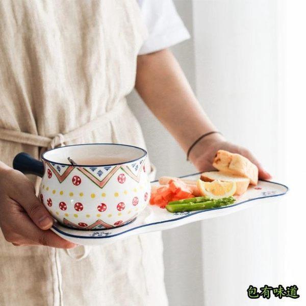包有味道 荼蘼民族風陶瓷餐具手繪釉下彩創意雙耳碗把手碗湯碗家用