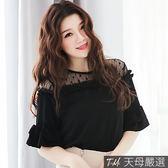 【天母嚴選】透膚蕾絲拼接雙層荷葉袖雪紡上衣(共三色)