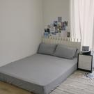 色織水洗棉 素色床包枕套組 雙人【淺藍灰】長絨棉 mix&match 無印風格 簡約設計 翔仔居家