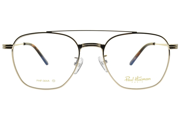 PAUL HUEMAN 光學眼鏡 PHF364A C01A (金-琥珀) 雙槓 飛行 方框 眼鏡框 平光 #金橘眼鏡