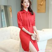 大尺碼洋裝 秋季新款韓版時尚顯瘦長袖純色百搭修身休閒連身裙 DR8231【Rose中大尺碼】