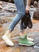雨鞋 雨鞋女夏時尚款外穿短筒廚房防滑洗車鞋水鞋女日系中筒雨靴女軟底 至簡元素