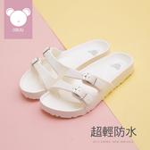 拖鞋.雙細帶防水休閒拖鞋-白-FM時尚美鞋.Dreams