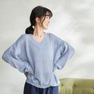 【慢。生活】V領純色針織罩衫 0228 FREE淺藍