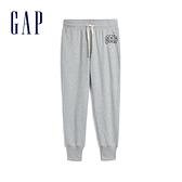 Gap女裝 Logo棉質縮口鬆緊休閒褲 567943-亮麻灰色