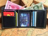 優惠三天-青少年學生韓版男女錢包兒童拉?帆布短款三折薄款錢包帶防盜?