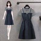 大碼洋裝TL-4XL大碼女裝胖mm洋氣顯瘦減齡韓版條紋假兩件拼接連身裙MR26韓衣裳