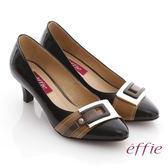 effie 街頭玩味 全真皮鏡面配色金屬飾釦跟鞋  黑