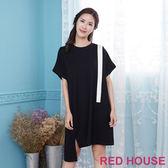RED HOUSE-蕾赫斯-撞色素面長版上衣(黑色)