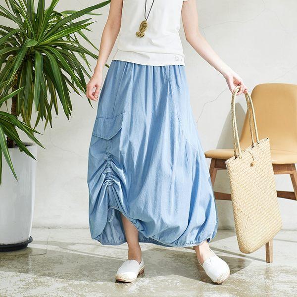 【慢。生活】可調抽繩造型長裙 K027 FREE淺藍