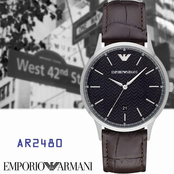 ARMANI亞曼尼 特殊雕紋素面日期皮帶男錶x42mm黑・AR2480|名人鐘錶高雄門市