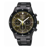 SEIKO Criteria 太陽能三眼計時腕錶/灰面x黑鋼/V175-0DA0G