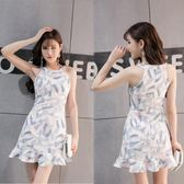 夏季韓版氣質顯瘦掛脖無袖荷葉邊魚尾裙短裙復古印花包臀洋裝潮 卡布奇诺