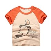 卡通塗鴉圖案短袖上衣 橙色鯊魚 童裝 短袖上衣