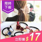 韓國緞帶蝴蝶結方塊珍珠髮圈(1入)【小三美日】顏色隨機 原價$19