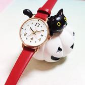 agnes b. ART 法式藝術手繪星星時尚腕錶-玫瑰金框x紅/26mm VJ22-KR80R(BH7010X1)