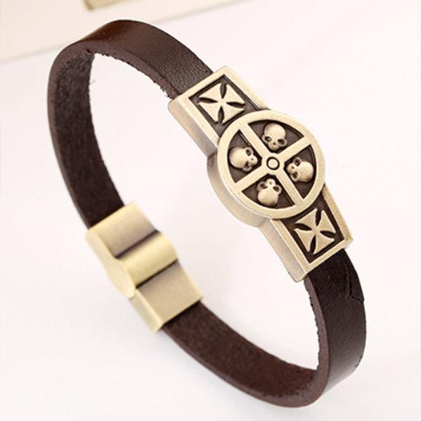 《 QBOX 》FASHION 飾品【L100GT016】精緻個性仿古元盾骷顱頭十字架圖騰合金皮革手鍊/手環