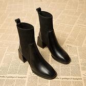 襪靴 瘦瘦靴女襪子靴2021年春季新款中跟粗跟高跟方頭短靴中筒馬丁靴【快速出貨八折下殺】