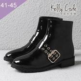 大尺碼女鞋-凱莉密碼-潮流時尚款漆皮防潑水側拉鍊平底短靴3cm(41-45)【QI671-8】黑色