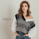 PUFII-上衣 格紋針織拼接假兩件上衣 -1105 現+預 秋【CP17548】