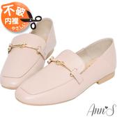 Ann'S超柔軟綿羊皮-訂製金結兩穿穆勒平底紳士鞋-粉