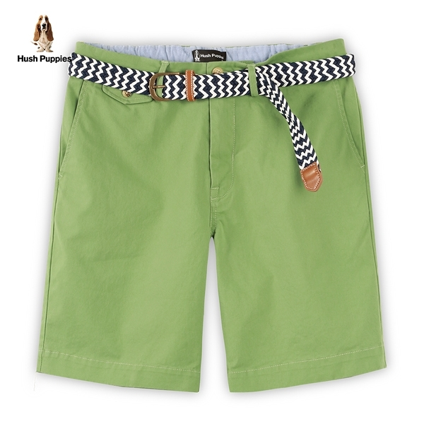 Hush Puppies 短褲 男裝素色附編織腰帶休閒短褲