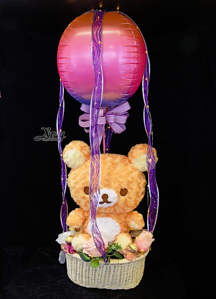 42cm捲捲絨毛拉拉熊幸福熱氣球,金莎花束/情人節禮物/婚禮佈置/派對慶生,節慶王【Y10673】