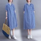 漂亮小媽咪 實拍 文藝 寬鬆 格子洋裝【D7118】V領 格子 中長款 洋裝 連衣裙