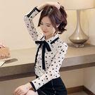VK精品服飾 韓國風雪紡襯衫蝴蝶結碎花長袖上衣
