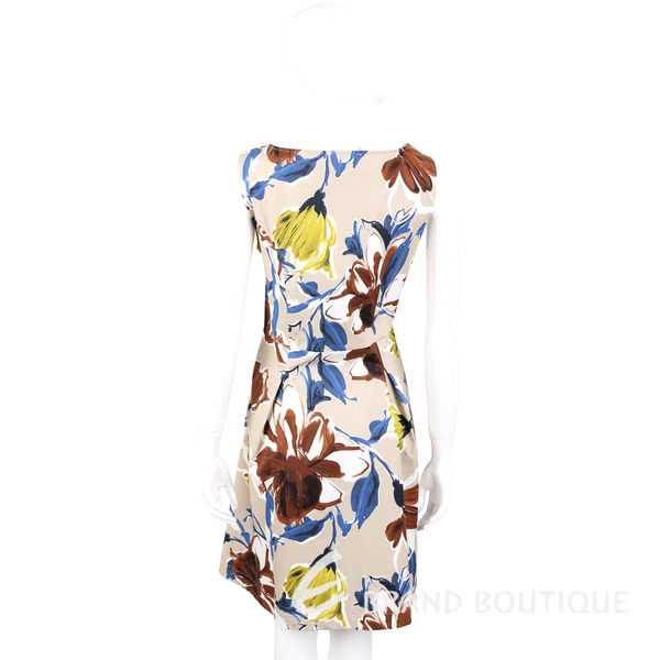 ANNA RACHELE 卡其色彩繪花朵V領無袖洋裝 1620472-28