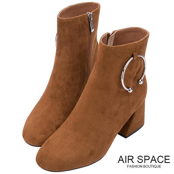 中筒靴 C型鐵環絨布中筒粗跟靴(咖啡)-AIR SPACE