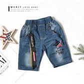 美式星星英文飄帶帥氣牛仔褲 短褲 後口袋條紋 個性 男童 哎北比童裝