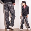 【MIT】個性霧面鬼洗水波紋暈染牛仔褲...