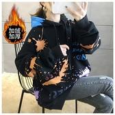 長袖上衣大學T7115實拍中大碼冬季涂鴉連帽加絨加厚衛衣女外套NE416.