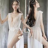 透視禮服 洋裝 新款夜店性感女裝透視網紗長裙酒吧桑拿技師制服誘惑大碼小姐旗袍